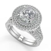 3 Ct Cushion Cut Double Halo Pave Diamond Engagement Ring Set Si2 H White Gold