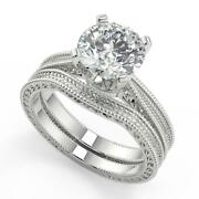 2 Ct Round Cut Hand Engraved 4 Prong Diamond Engagement Ring Set Si2 D 14k