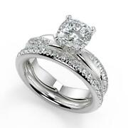 1.3 Ct Cushion Cut Pave Twist Infinity Rope Diamond Engagement Ring Set Si1 D