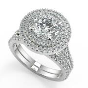 3.15 Ct Round Cut Double Halo Pave Diamond Engagement Ring Set Si2 D White Gold