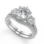 2.45 Ct Round Cut 3 Stone French Pave Diamond Engagement Ring Set Si2 D 14k