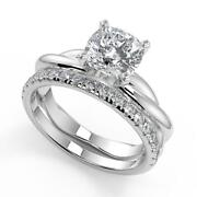 2.45 Ct Cushion Cut Infinity Solitaire Rope Diamond Engagement Ring Set Si2 H