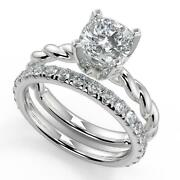 1.5 Ct Cushion Cut Twisted Rope Solitaire Diamond Engagement Ring Set Vs1 G 14k