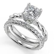 1.6 Ct Cushion Cut Twisted Rope Solitaire Diamond Engagement Ring Set Vs1 H 14k