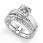 1.7 Ct Round Cut 4 Prong Solitaire Diamond Engagement Ring Set Si1 D White Gold