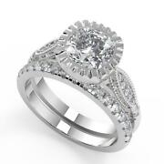 2.05 Ct Cushion Cut 4 Prong Solitaire Diamond Engagement Ring Set Si1 F 18k