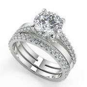 2.35 Ct Round Cut Promise Pave Diamond Engagement Ring Set Si2 H White Gold 14k