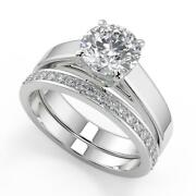 1.7 Ct Round Cut 4 Prong Solitaire Diamond Engagement Ring Set Vs2 G White Gold
