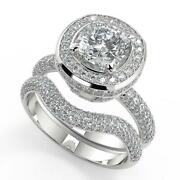 2.55 Ct Cushion Cut Halo Micro Pave Diamond Engagement Ring Set Si1 D White Gold