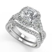 2.2 Ct Cushion Cut Micro Pave Halo Infinity Diamond Engagement Ring Set Vs1 H