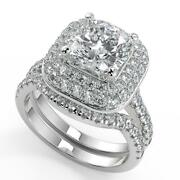 2.9 Ct Cushion Cut Double Halo Pave Diamond Engagement Ring Set Si1 F White Gold
