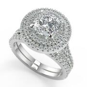 3.05 Ct Cushion Cut Double Halo Pave Diamond Engagement Ring Set I1 H White Gold