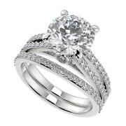 2.75 Ct Round Cut Double French Split Shank Diamond Engagement Ring Set Si2 D