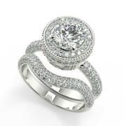 2.25 Ct Round Cut Halo Micro Pave Diamond Engagement Ring Set Si1 D White Gold