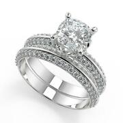 2 Ct Cushion Cut Knife Edge Pave Double Sided Diamond Engagement Ring Set Si1 D