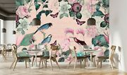 3d Pink Flower Bird A236 Wallpaper Wall Mural Self-adhesive Andrea Haase Amy