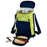D Wine And Cheese Cooler, Picnic Backpack Bag, For Outdoor Trellis Green