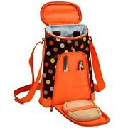 D Wine And Cheese Cooler, Picnic Backpack Bag, For Outdoor Brown Dot