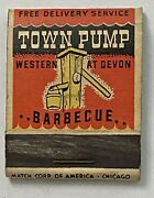 Vintage Matchbook Cover Town Pump Barbecue Chicago Illinois