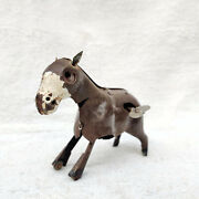 1940s Vintage Old Hand Painted Early Windup Clockwork Jumping Ass Donkey Tin Toy