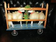 10 1/2 Antique German Cotton Batting Sheep And Feather Tree Christmas Pull Toy