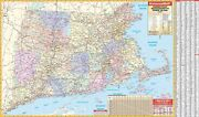 Connecticut Rhode Island And Massachusetts State Wall Map