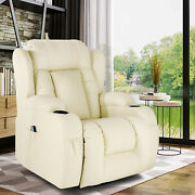 Upgrade Wide Back Pu Massage Recliner Chair Heated Vibrated Sofa W/control White