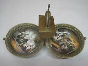 Antique Cigar Cutter German Traveling Brass And Enamel With Folding Ashtrays