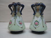 Antique Vases Pair Of Miniature Hand Painted Vases H And S L Oriental 4 Tall