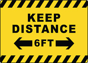 Keep Distance 6 Ft | Adhesive Vinyl Sign Decal