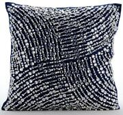 Navy Blue Accent Pillow Cover Luxury 20x20 Taffeta - Crystals N Pearls Jam