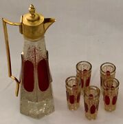 Gorgeous Antique Moser Ruby Glass Ewer Of Gilt Metal Handle And Cover Tapering