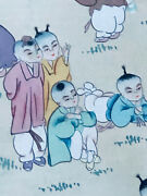 Quinlong Chinese Colorful Watercolor Children Playing In The Garden Scroll