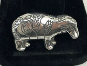 Vintage Hippopotamus Hippo Sterling Silver Pin/brooch Signed Mma 1983