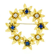 Vintage 18k Gold 1.19ct Brilliant Sapphire And Diamond Etched Flower Wreath Brooch