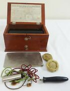 Antique Mahogany Cased Quackery Shocking Machine Complete With Directions