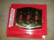 New 3 Gang Toggle Switch Plate Solid Brass Switchplate Curved Decorative Shiny