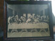 21x 18 Vintage Wood Framed Picture The Last Supper Ready To Hang No Glass