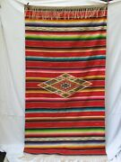 Antique Mexican Saltillo Serape 45 X 86 Not Counting Fringe