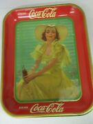 Authentic Coke Coca Cola 1938 Girl Advertising Serving Tray 810