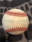 Mickey Mantle Single Signed Oal Brown Ball With No. 7 Inscription Psa/dna