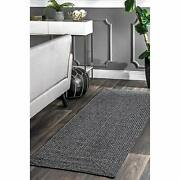 Nuloom Lefebvre Braided Indoor/outdoor Runner Rug 2and039 6 X 6and039 Charcoal