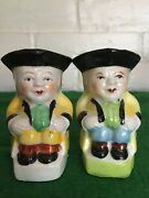 Vintage Toby Mugs Set Of Two Hand Painted Made In Japan 2 3/4 Inches Tall