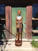 John Gallagher Carved Wooden Cigar Store Indian 4 Ft. Statue Warrior Tomahawk
