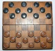 1928 Antique Vintage Soviet Russian Mini Wooden Checkers Signed Full Set