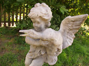 Breathtaking Early 20th Heavy Metal Putto W/goose Antique Garden Fountain 24t
