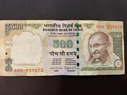 India Reserve Bank 500 Rupees Gandhi Collectible Genuine Authentic