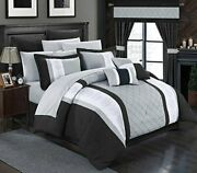 Chic Home 24 Piece Danielle Complete Pintuck Embroidery Color Block Bedding She