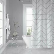 Geometric Gray White Farmhouse Water-repellent Fabric Shower Curtain + Hooks