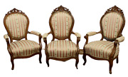 Antique Armchairs Victorian Parlor 19th C. 1800s Charming Set Of Three